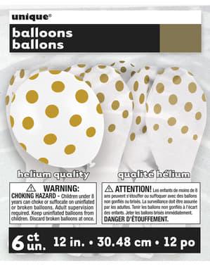 6 witte ballonnen met gouden stippen (30 cm)