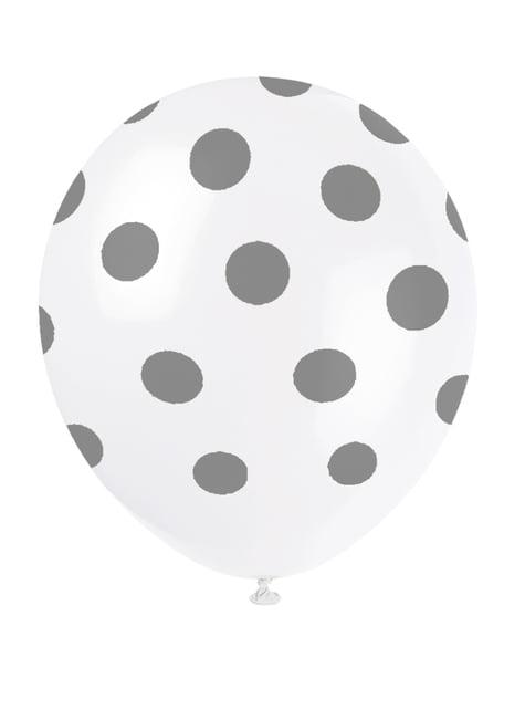 Sada 6 balonků bílých se stříbrnými tečkami