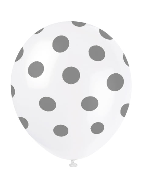 Set of 6 white balloons with silver spots
