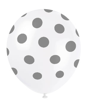 6 white balloons with silver spots (30 cm)