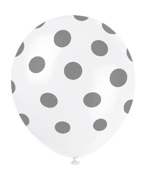 6 witte ballonnen met zilveren stippen (30 cm)