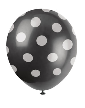 6 black balloons with white spots (30 cm)