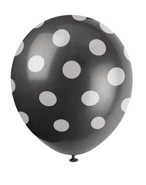 6 zwarte ballonnen met witte stippen (30 cm)