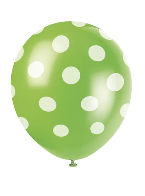 6 globos verde lima con topos blancos (30 cm)