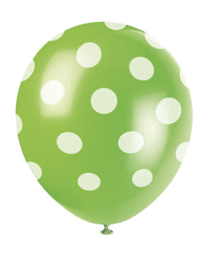 6 lime green balloons with white spots (30 cm)