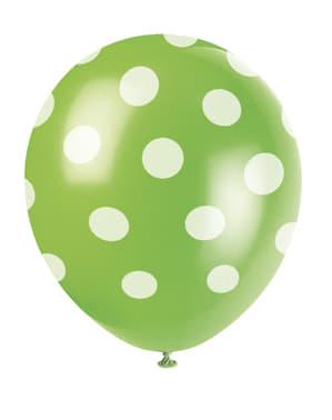 Zestaw 6 limonkowych balonów w białe kropki