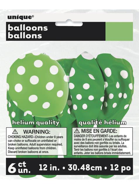 Conjunto de 6 balões verde lima com pintas brancas