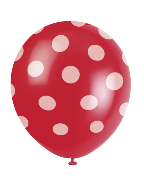 6 globos rojos con topos blancos (30 cm)