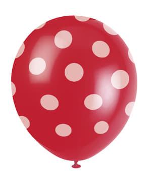 6 rode ballonnen met witte stippen (30 cm)