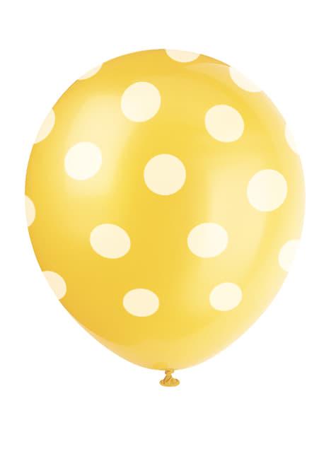 6 globos amarillos con topos blancos (30 cm)