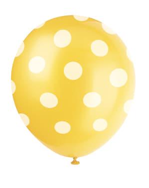 6 ballons jaunes à pois blancs