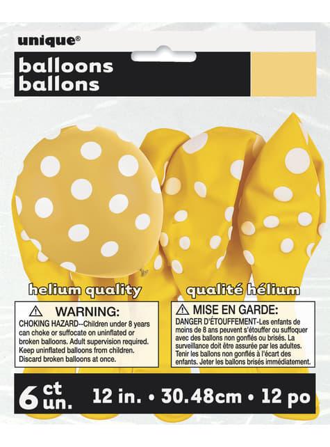 6 globos amarillos con topos blancos (30 cm) - para tus fiestas