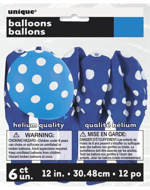 6 donkerblauwe ballonnen met witte stippen (30 cm)