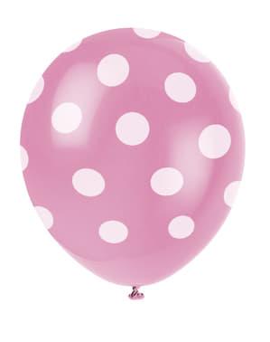 Sett med 6 rosa ballonger med hvite prikker
