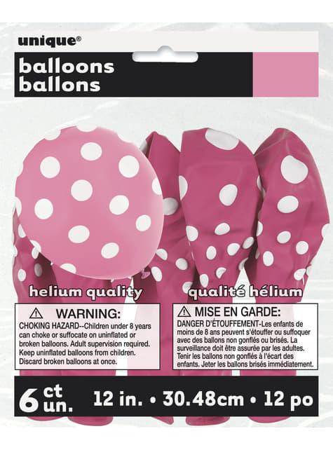 Set de 6 globos rosas con topos blancos