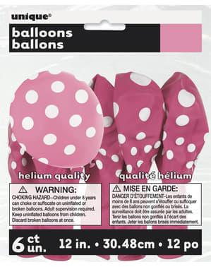 6 balões cor-de-rosa com pintas brancas (30 cm)