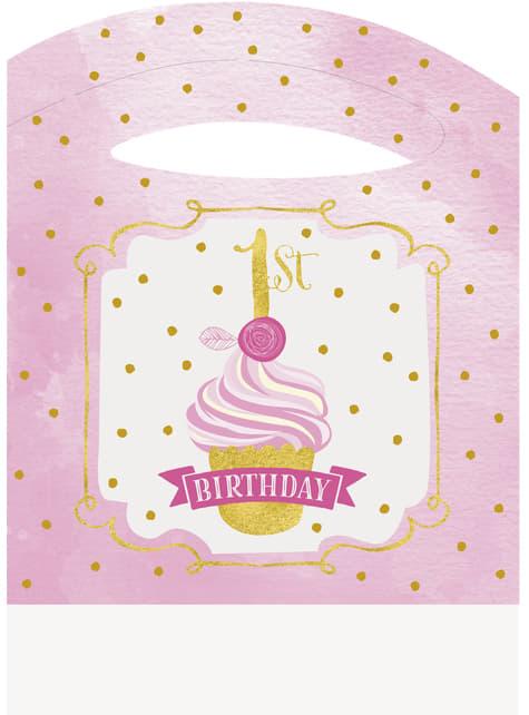 Set de 1º cumpleaños rosa y dorado - para tus fiestas