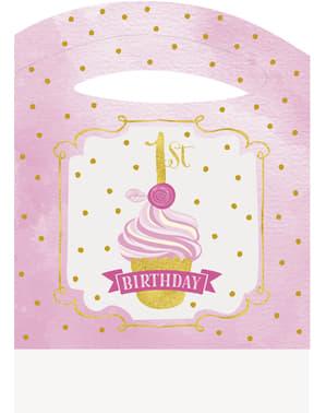 Conjunto de 1º aniversário cor-de-rosa e dourado