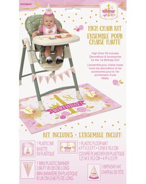 Pinkki ja kultainen 1. syntymäpäivä setti