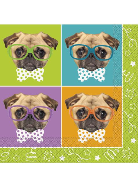 16 grandes serviettes - Pug Puppy