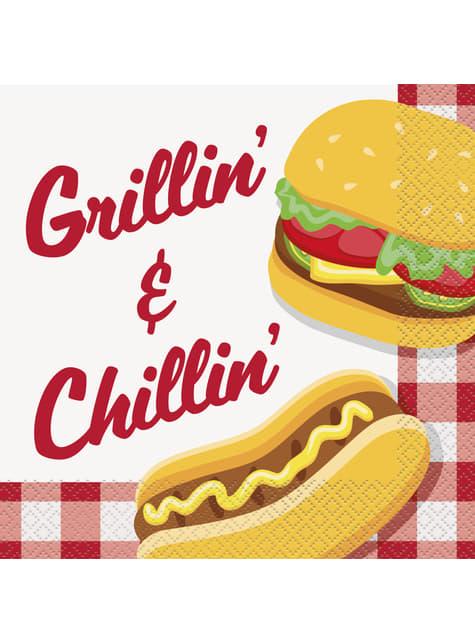 16 grandes serviettes BBQ - Grillin' & Chillin'