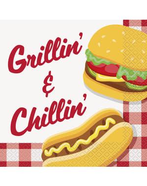 16 servilletas BBQ (33x33 cm) - Grillin' & Chillin'
