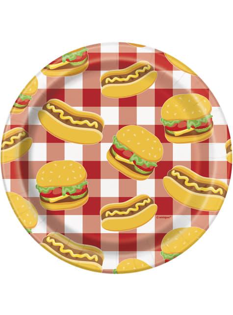8 platos pequeños BBQ (18 cm) - Grillin' & Chillin'