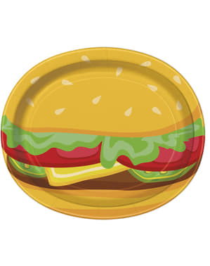 8 bandejas ovais de hamburguer