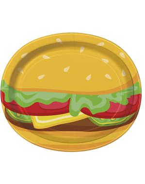 Ovale Hamburger Teller Set 8-teilig