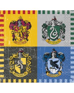 Zestaw 16 małych serwetek z herbami Domów Hogwartu - Harry Potter