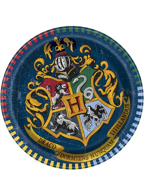 8 pratos de sobremesa Casas de Hogwart (18 cm) - Harry Potter