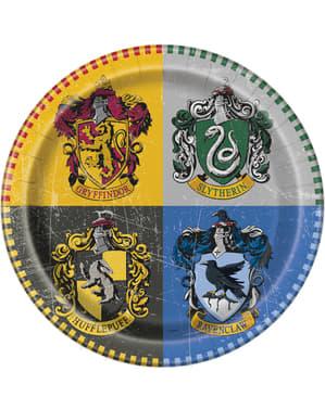 Sett med 8 store Galtvort Husene tallerken - Harry Potter