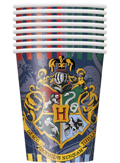 8 vasos Harry Potter - Hogwarts Houses - para tus fiestas