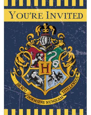 Sæt af 8 Hogwarts hus invitationer - Harry Potter