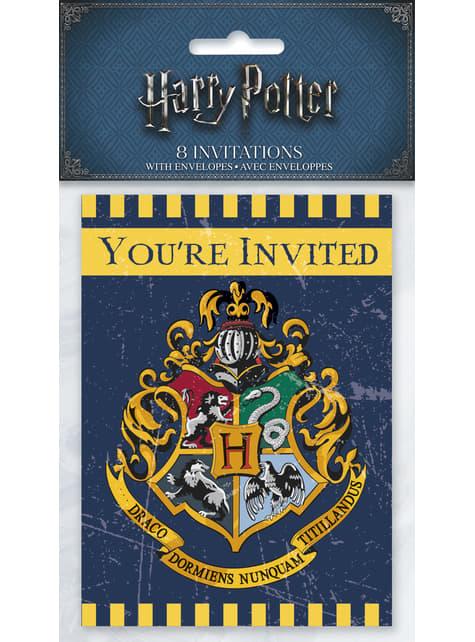 8 invitaciones Casas de Hogwarts - Harry Potter