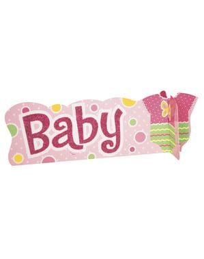 עיצוב ורוד למרכז השולחן למסיבת לידה - Baby Shower