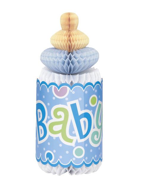 Centrální dekorace dětská lahev modrá - Baby Shower