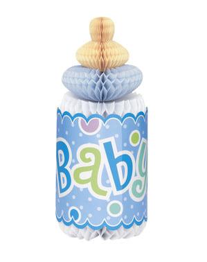 Centro de mesa biberón azul - Baby Shower