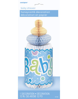Blue baby's bottle centerpiece - Baby Shower