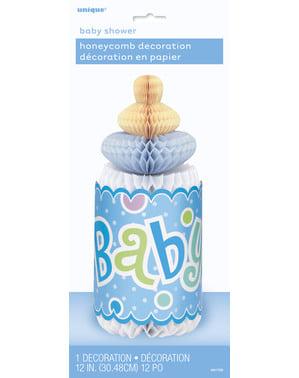 Niebieski stroik na stół w postaci butelki niemowlęcia - Baby Shower