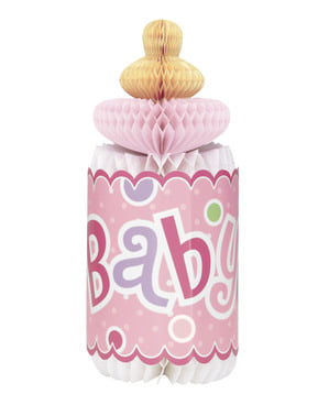 Centre de table biberon rose - Baby Shower