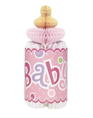 Roze babyfles middenstuk - Baby Shower