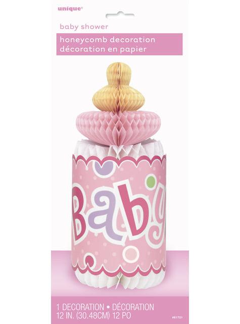 Centro de mesa biberón rosa - Baby Shower - para tus fiestas