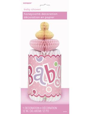 Różowy stroik na stół w postaci butelki niemowlęcia - Baby Shower