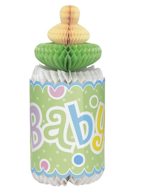 Centro de mesa biberón verde - Baby Shower