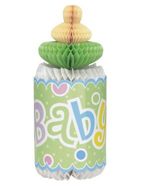 Zielony stroik na stół w postaci butelki niemowlęcia - Baby Shower
