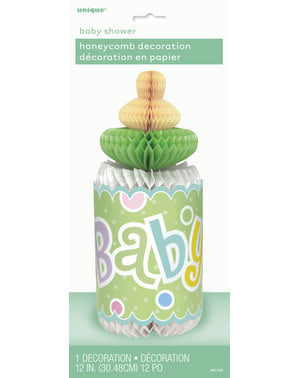 Green baby's bottle centerpiece - Baby Shower