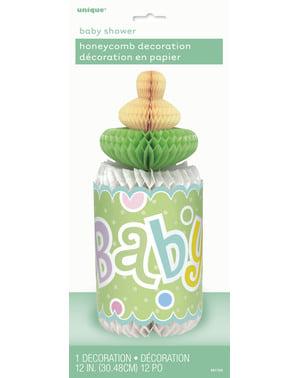 Zöld cumisüveg asztaldísz - Baby Shower