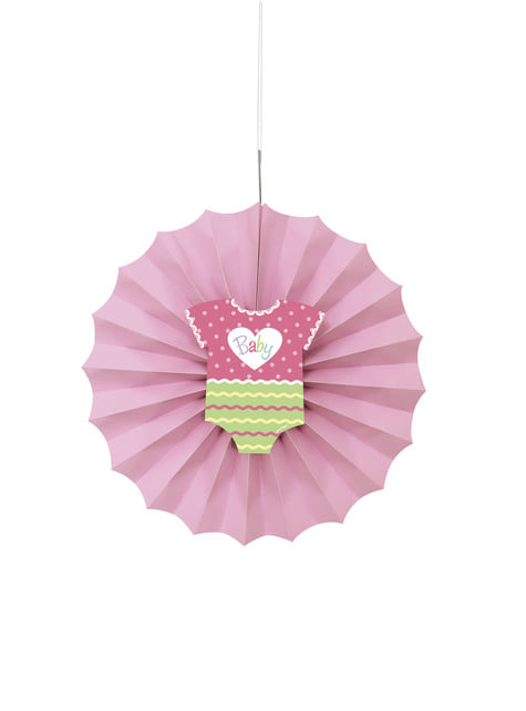 Abanico de papel decorativo rosa - Baby Shower