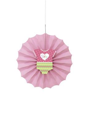 ベビーシャワー ピンク色の紙製ファン飾り